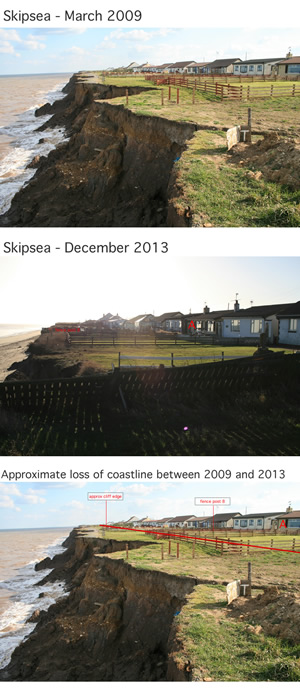 Skipsea erosion between 2009 and 2013