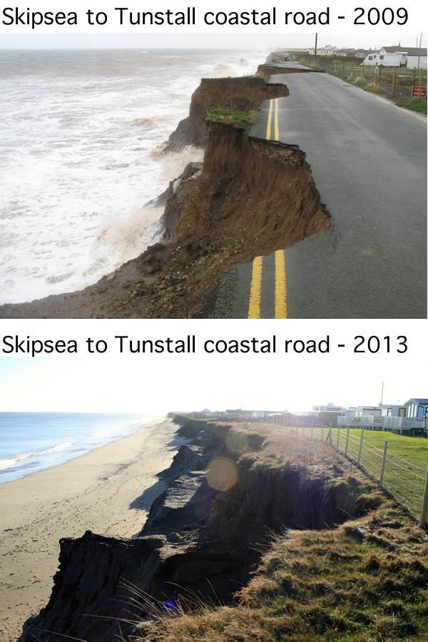 Skipsea to Tunstall coastal road
