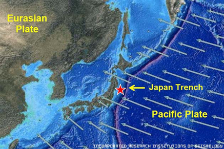 Map to show Japan and Tectonic Plates